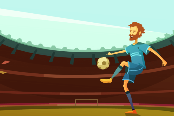 ilustración futbolista branding