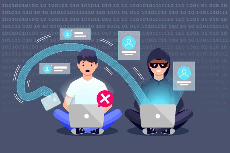 ilustración ejemplo de phishing con hacker y víctima