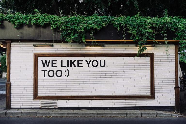 muro de ladrillos blanco con la frase: we like you too