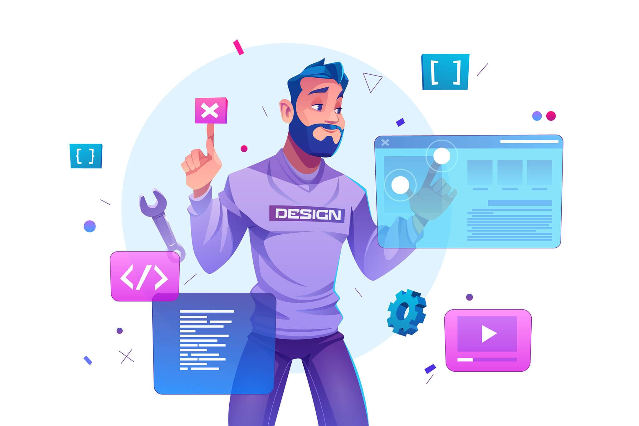 ilustración de programador con varios lenguajes de programación