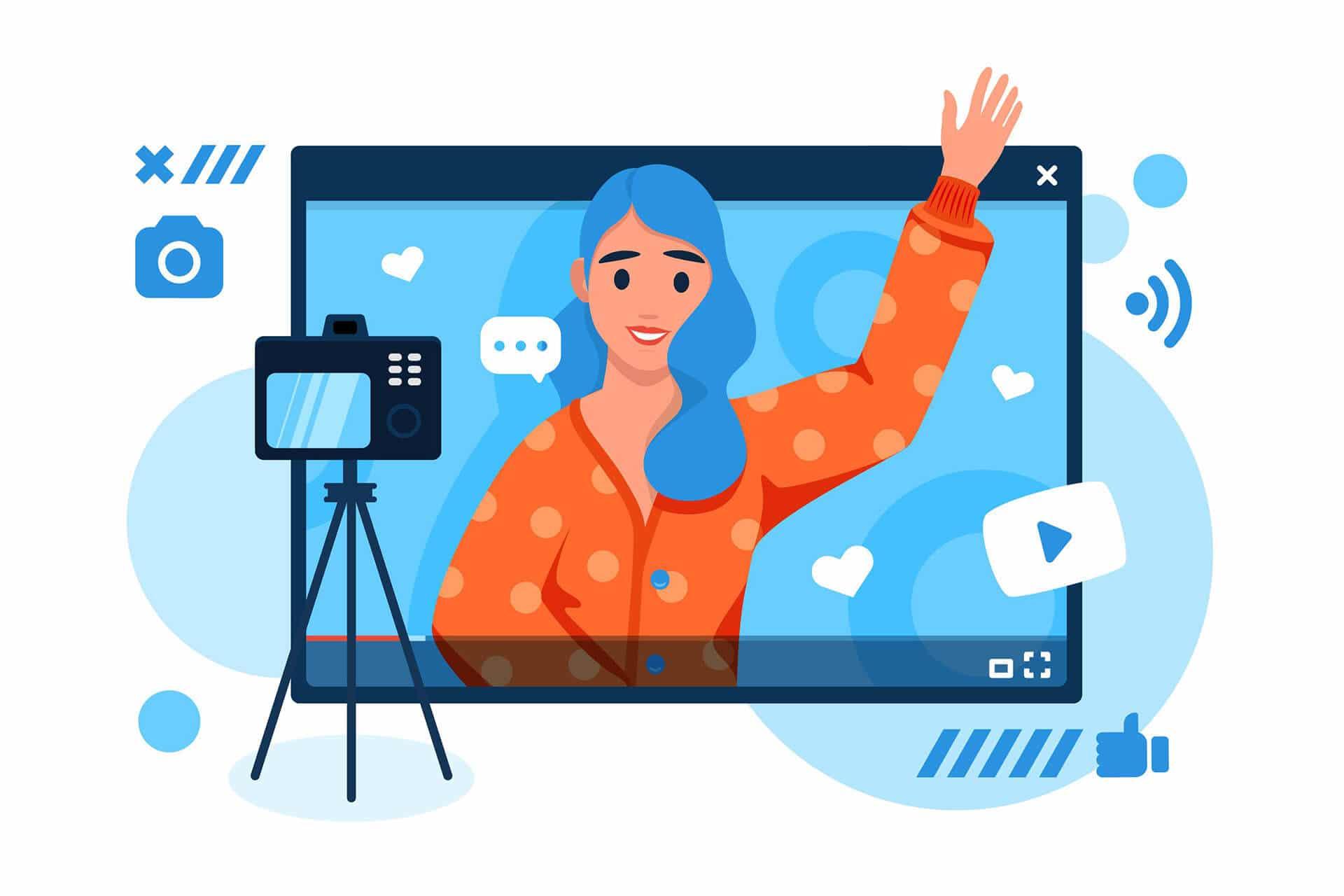 ilustracion mujer haciendo video corporativo