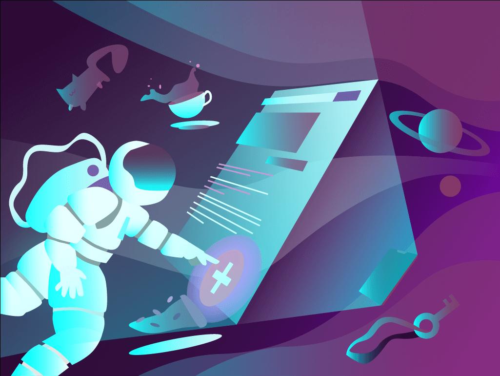 Ilustración astronauta tocando pantalla flotante. Transformacion digital