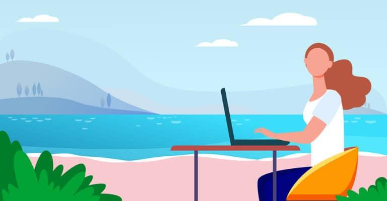 Ilustración mujer con portátil en la playa ciberataques