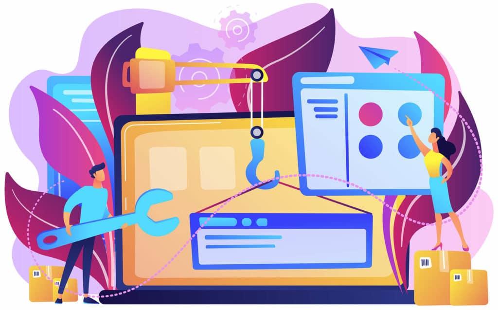 ilustración sobre digitalizacióncon colores vivos