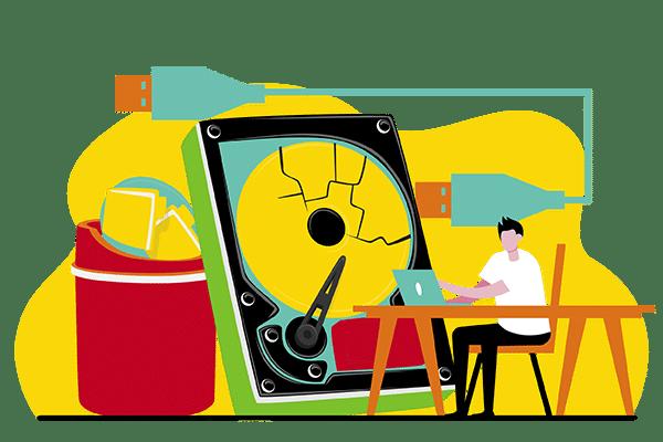 Ilustración de destrucción de discos duros