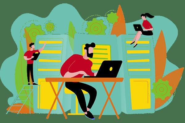 Ilustración de personas haciendo un traslado tecnológico