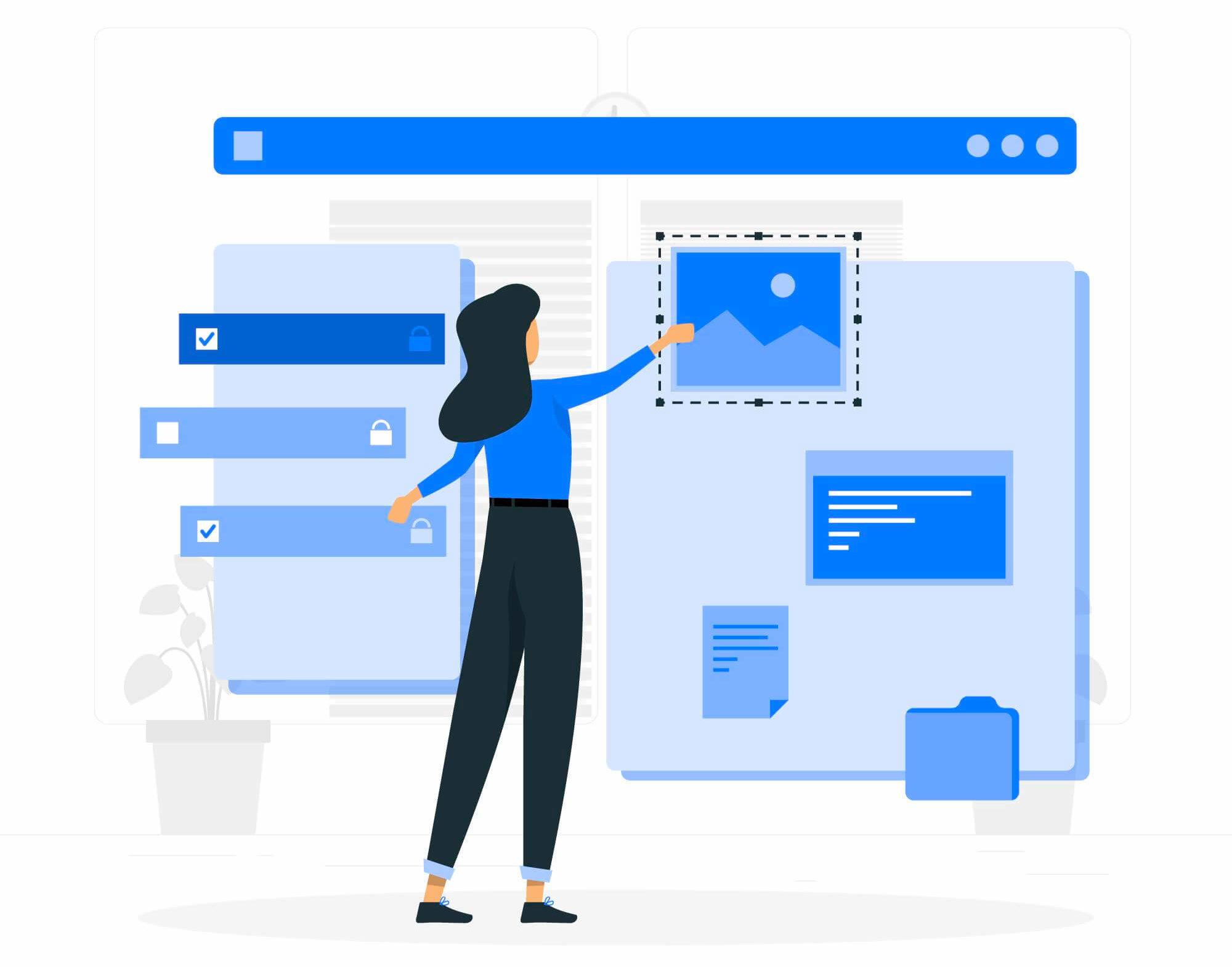 ilustración de una mujer construyendo una web con wordpress